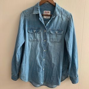 Chambray Denim Button Up Shirt with Front Pockets